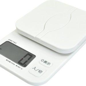 ドリテック(dretec) デジタルスケール 「パカット」 2kg ホワイト KS-257WT